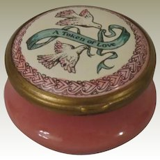 Halcyon Days Bilston & Battersea Pink Enamel Box A Token Of Love with Doves