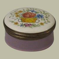 Crummles & Co Lavender Enamel Trinket Box Adorned with a Basket Of Flowers