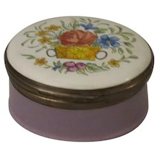 Crummles & Co Lavender Enamel Trinket Box Adorned with a Basket Of Flowers