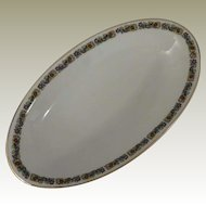 H & C Heinrich & Co Selb Bavaria Floral Band Small Oval Serving Dish