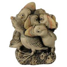 Harmony Kingdom In Fine Feather Treasure Jest Box Figurine with Puffins