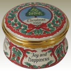 Halcyon Days Christmas 1988 Enamel Box with Christmas Tree, Holly, and Christmas Sayings