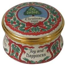 Halcyon Days Christmas 1988 Enamel Box with Christmas Tree, Holly, and Christmas Sayings