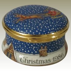 Halcyon Days Christmas 1986 Enamel Box with Santa Claus and His Sleigh