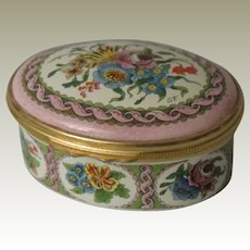 Halcyon Days Enamels Floral Oval Enamel Box
