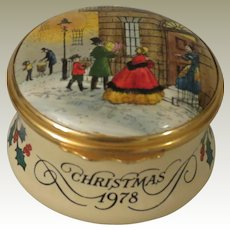 Halcyon Days Christmas 1978 Enamel Box with a Victorian Style Street Scene