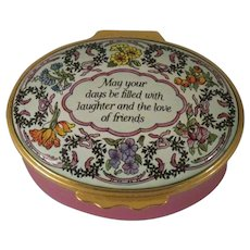 Halcyon Days Enamels May Your Days Be Filled With Laughter Oval Enamel Box