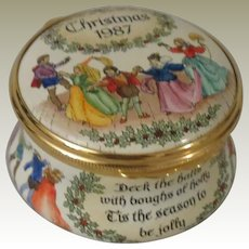 Halcyon Days Christmas 1986 Deck the Halls Enamel Box with Medieval Dancers and Jesters