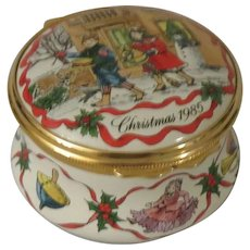 Halcyon Days Christmas 1985 Enamel Box with Children and Christmas Toys