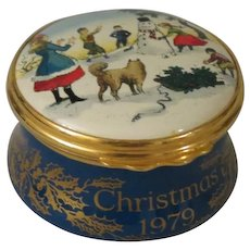 Halcyon Days Christmas 1979 Enamel Box with Children Building a Snowman