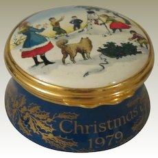 Halcyon Days Christmas 1979 Enamel Box with Children Building a Snowman