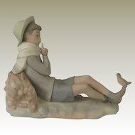 Lladro Bird Watcher or Shepard with Bird Retired Figurine 4730 Matte Finish