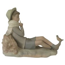 Lladro Bird Watcher or Shepard with Bird Retired Figurine 4730 Matte Finish