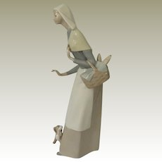 Lladro Shepherdess with Dog Porcelain Figurine