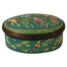 Halcyon Days Green Enamel Box with Colorful Birds Sitting in a Tree