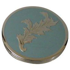 Pretty Silvertone and Baby Blue Enamel Powder Compact