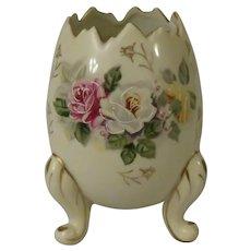 Vintage Inarco Three Legged Cracked Egg Shaped Vase with Roses