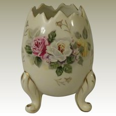 Vintage Inarco Three Legged Cracked Egg Shaped Vase with Roses