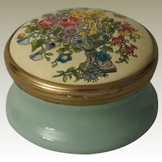 Early Halcyon Days Bilston and Battersea Large Round Enamel Box with Vase of Flowers