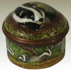 Halcyon Days Bonbonniere Enamel Box Figure with Badgers