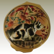 Halcyon Days Cat Watching Insects Enamel Box Based on Japanese Art Work in the British Museum
