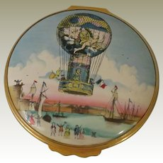 Halcyon Days Large Enamel Box Depicting Calais Hot Air Balloon Flight of 1785