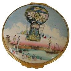Halcyon Days Large Enamel Box Depicting Calais Hot Air Balloon Flight of 1785
