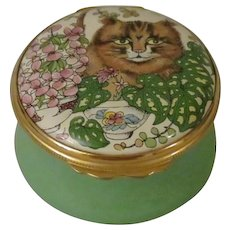 Halcyon Days Enamel Box with a Brown Tabby Cat Sitting Among Flower Pots