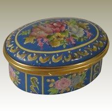Halcyon Days Blue Oval Enamel Box with Beautiful Flowers