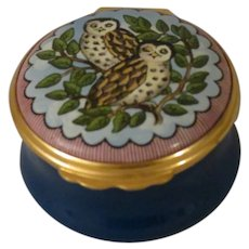 Halcyon Days Navy Blue Enamel Box with Two Spotted Owls