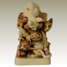 Harmony Kingdom Tony's Tabbies Treasure Jest Box Figurine with Cats