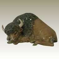 Lladro Miniature Bison, Resting Porcelain Figurine Model 5312