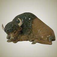 Lladro Miniature Bison, Resting Porcelain Figurine Model 5312