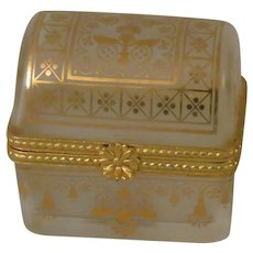 Estee Lauder Frosted Glass and Gold Chest Keepsake Perfume Trinket Box