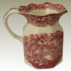 Mason's Pink or Red Vista Transferware Ironstone Milk Pitcher