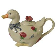 Lenox Poppies on Blue Barnyard Duck Teapot