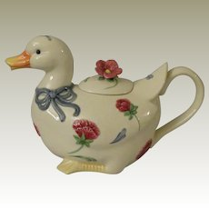 Lenox Poppies on Blue Barnyard Duck Teapot
