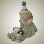 Lladro Adorable Clown Pierrot with Puppy Porcelain Figurine Model 5277