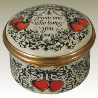 Halcyon Days Bilston & Battersea From One Who Loves You 1978 St Valentine's Day Enamel Box