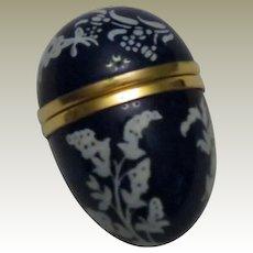 Halcyon Days Bilston & Battersea Mini Egg Shaped Cobalt Blue Enamel Box with White Floral Pattern
