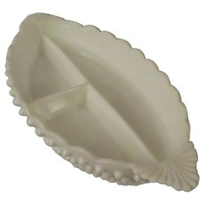 Fenton Hobnail Milk Glass Divided Relish Dish