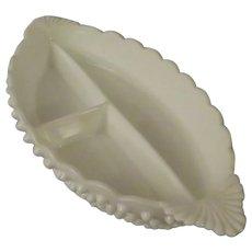 Fenton Hobnail Milk Glass Divided Relish Dish