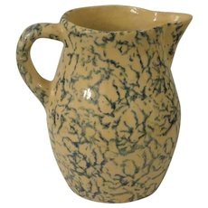 RRP CO Robinson Ransbottom Spongware Blue and Tan Cream or Milk Pitcher