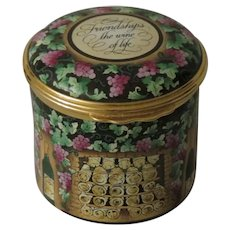 Gorgeous Halcyon Days Friendship's the Wine of Life Tall Enamel Box