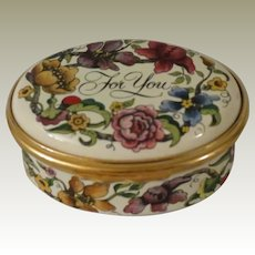 Halcyon Days Enamel For You Box with Colorful Flowers