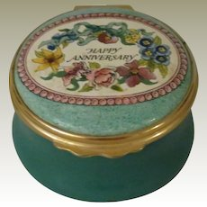 Halcyon Days Happy Anniversary Enamel Box