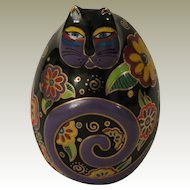 Laurel Burch Flowering Feline Egg Shaped Cat Figurine by Franklin Mint.