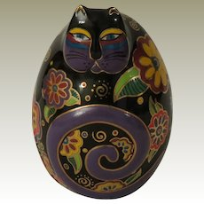 Laurel Burch Flowering Feline Egg Shaped Cat Figurine by Franklin Mint.