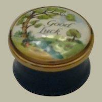 Halcyon Days Bilston & Battersea Mini Good Luck Enamel Box with Landscape Scene