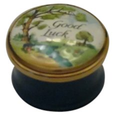 Halcyon Days Bilston & Battersea Mini Good Luck Enamel Box with Landscape Scene